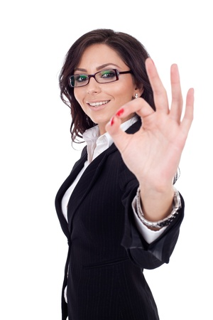 Attractive business woman satisfied with results - ok sign Stock Photo - 9971920