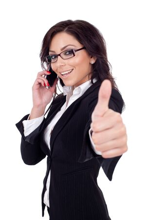 good business: Happy business woman with phone and thumbs up gesture, isolated