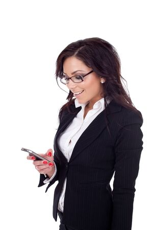 happy young bussiness woman texting a message, isolated photo