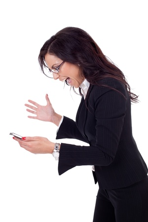 broken telephone: Angry business woman shouting to a mobile. Isolated on white Stock Photo