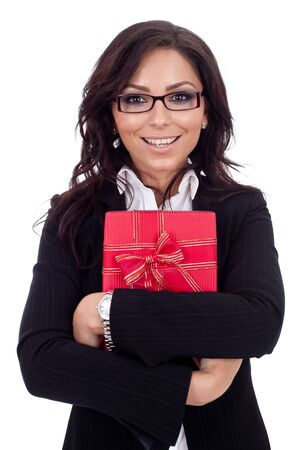 happy business woman holding a gift photo