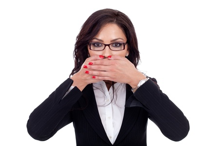 Woman covering her mouth - isolated on white background photo