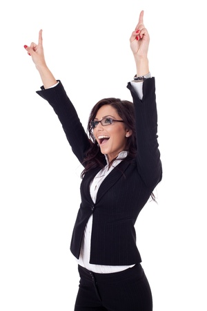 people celebrating: picture of a very happy business woman winning over white