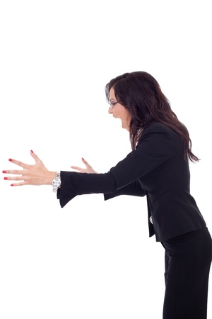 side job: portrait of an angry business woman screaming to a side, isolated over a white background