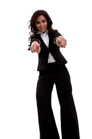 young beautiful business woman pointing on you on white background, wide angle photo