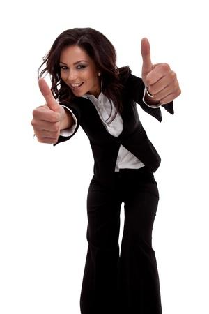 amabilidad: Retrato de mujer de negocios subiendo pulgares con ambas manos, gran angular Foto de archivo