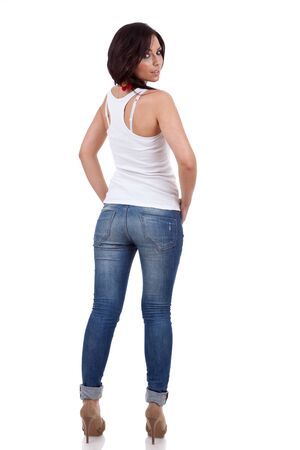 beautiful casual woman portrait from the back wearing jeans Stock Photo - 9971850