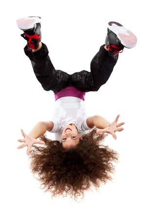 aerobica: young female dancing on the a white background Stock Photo