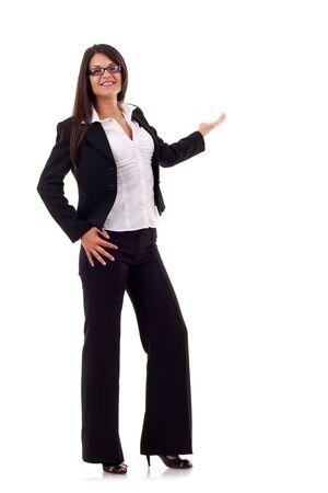 expresion corporal: Puntos de mujer de negocios en algo en la espalda. Aislado en fondo blanco  Foto de archivo