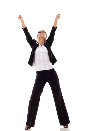 hooray: Portrait of an attractive businesswoman with her arms raised in celebration  Stock Photo