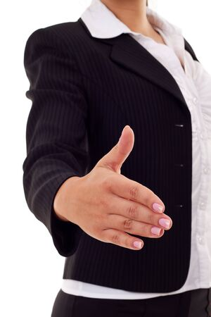 business woman ready to handshake isolated on white background  photo