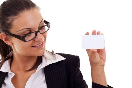 Attractive Business woman Closeup - presenting her business card Stock Photo - 10092188
