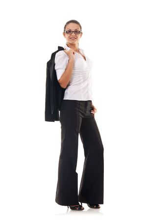 happy business woman with her coat on shoulder over white  photo