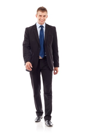 Full body portrait of walking business man, isolated on white background  Stock Photo - 10520832
