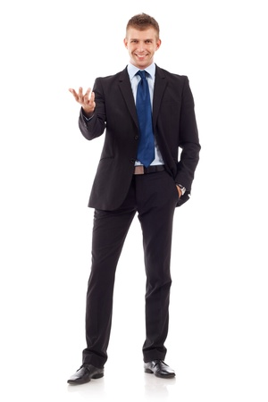 big welcome from a young business man over white background Stock Photo - 10520827