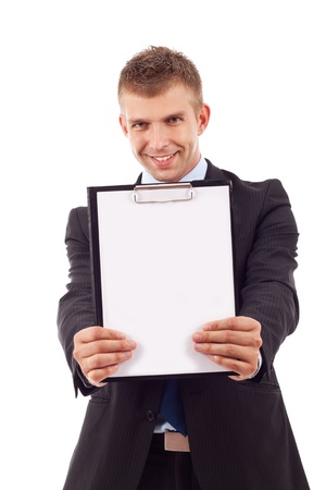 holding notes: business man holding a blank clipboard (isolated on white)  Stock Photo