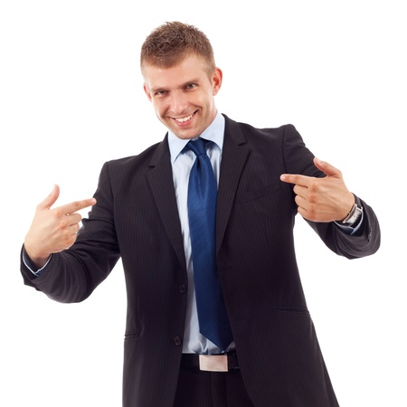Confident business man points to himself with hands. Isolated on white.