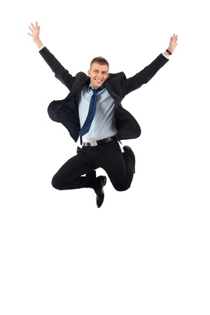 man jump: Excitement of business - Isolated shot of an extremely excited business man.  Stock Photo