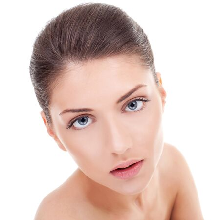 Close-up portrait of beautiful young woman's face with healthy clean skin Stock Photo - 10520963