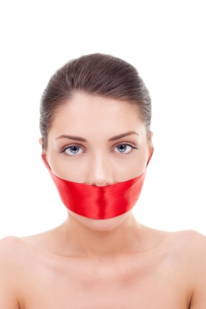 woman  mouth covered with a red ribbon over white background
