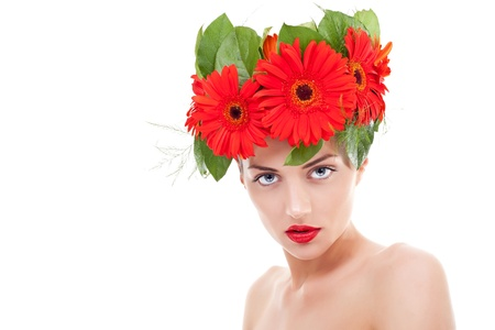 pure woman wearing gerbera flowers on her pretty head over white Stock Photo - 10520969
