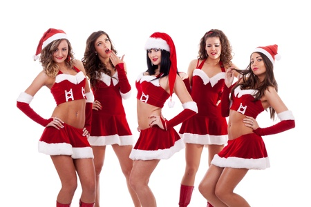 group of santa women  on a white background  photo