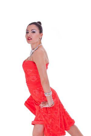 bailes latinos: estudio de retrato de la bailarina joven atractiva mujer Foto de archivo