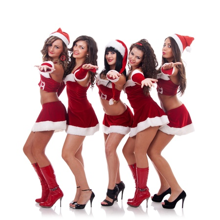 santa clause hat: group of santa women inviting you to them, over white