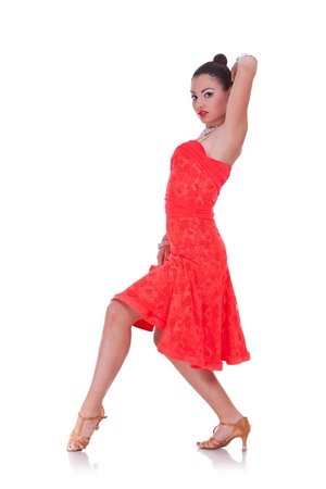 young woman dancing flamenco on a white background photo