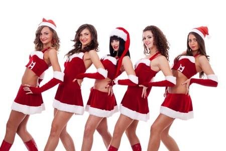 group picture: Foto de grupo de chicas de santa posando sobre blanco