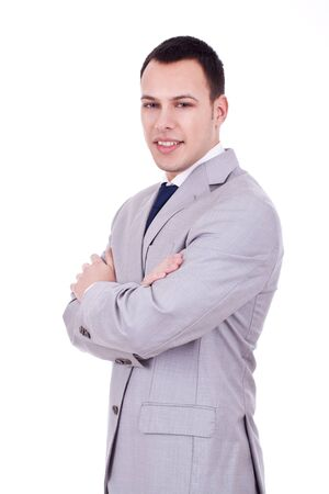 Portrait of happy smiling young businessman, isolated on white background Stock Photo - 10933748