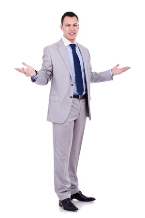 big welcome from a young business man over white Stock Photo - 10933484