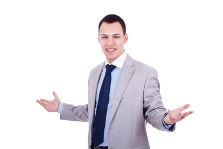 big welcome from a young business man on white background Stock Photo - 10933580