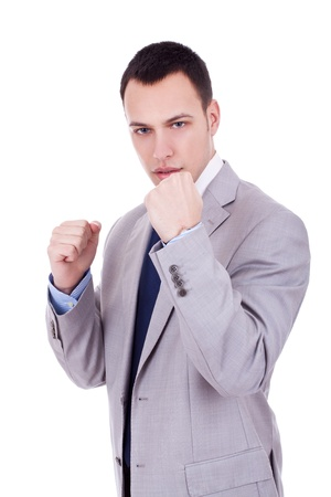 young business man ready for a fight with the work photo