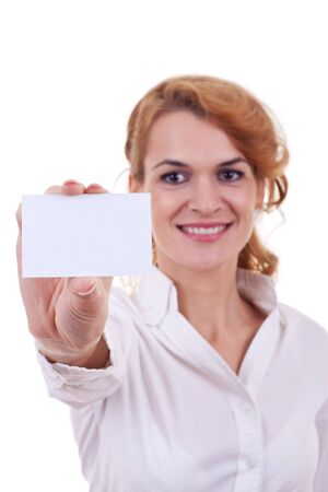 Attractive Business woman Closeup - presenting her business card Stock Photo - 10933619