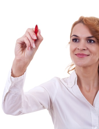 Business woman writing something with a red marker Stock Photo - 10933573