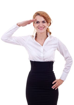 pledge: young business woman in a saluting position over white background