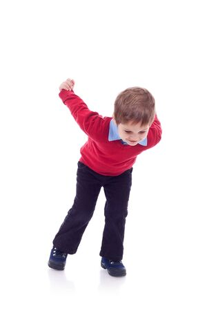 small kid ready for a jump on white background photo
