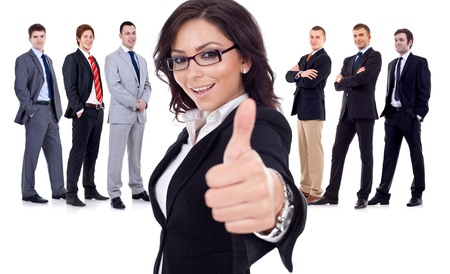 confirm confirmation: Successfull business woman givinng thumbs up for his team Stock Photo