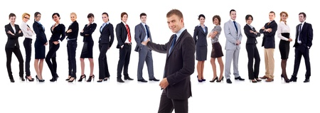 businessman presenting his team isolated over a white background Stock Photo - 10933840