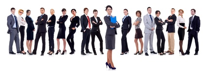 businessteamwork: business woman student leading a team - isolated over a white background  Stock Photo