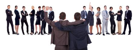 Back of two men leading a winning business team over white Stock Photo - 11188291