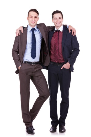 embraced: full body portrait of two friendly business men on white background Stock Photo