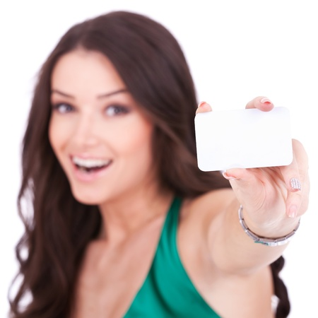 discount card: Close-up portrait of female holding credit card, shallow depth of field, focus on the credit card, over white background