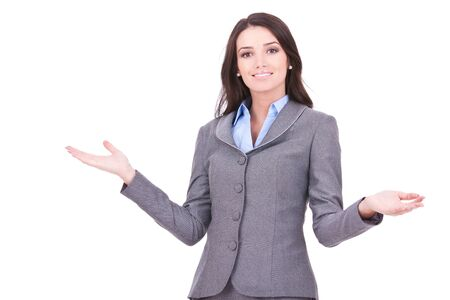 inviting: Young business woman smiling with her arms open on white background Stock Photo