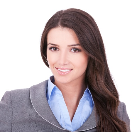 closeup picture of a beautiful business woman's face on white background Stock Photo - 11317455