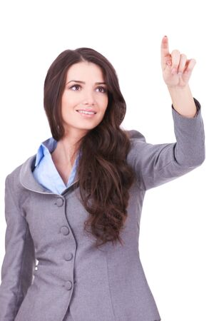 hand press: Young business woman pushing or pointing a transparent screen isolated on white background  Stock Photo