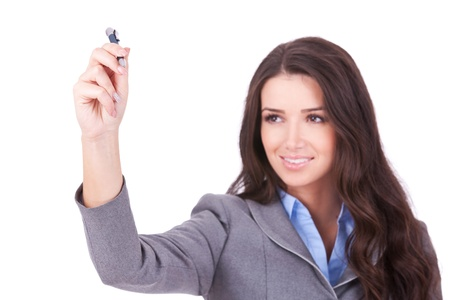 Business woman writing something with a  marker on white background Stock Photo - 11317507
