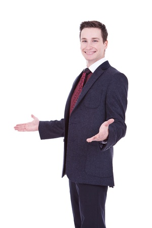 big welcome from a young business man on white background  Stock Photo - 11890881