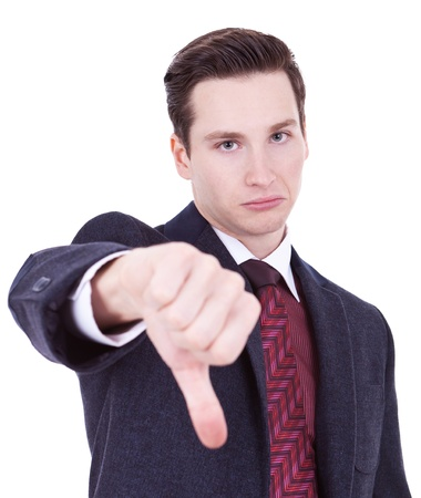 business man with thumbs down gesture over white  photo
